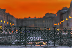 (dgaripov) Tags: bridge winter sunset sky metal fence evening russia bank nobody saintpetersburg  forging         201203