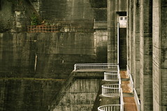 white door (chikache) Tags: door white 1955 japan stairs concrete nikon dam rainy huge gifu d300 kisoriver  concretegravitydam 982m maruyamadam