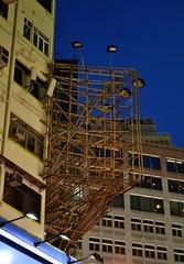 Bamboo truss-out platform (logatfer) Tags: building hongkong scaffolding structure bamboo poles
