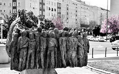 Spring at Pza. Repblica Dominicana (Allan Reyes) Tags: madrid plaza pink bw monument cherry spring spain blossoms sculture