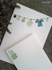 Frogs Clothes Line Letter Set (Cute.Kotori) Tags: blue white cute green set paper pretty lily pad line frog clothes kawaii envelope frogs letter stationery textured