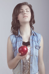 Aplle in hand (everythingistrivial) Tags: light apple girl studio denim vest brunnete dreamming