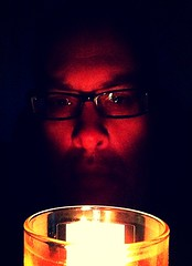 Day 446 - Day 80: By candlelight (knoopie) Tags: selfportrait me march candle doug year2 candlelight avenue day80 picturemail iphone knoop 365days 2013 knoopie 365more day446 365daysyear2