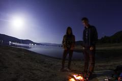 Our little campfire (christianhadzhiyski) Tags: night sky stars campfire long exposure canon 550d moon moonlight fire water lae lake bulgaria