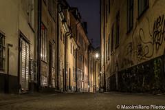 Stickholm old city, Gamla Stan (Massimiliano Pilotto) Tags: night city street graffiti nikon tokina light lights atmosphere walls buildings