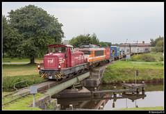 BE D22 + LC 9908 - 50587 (Spoorpunt.nl) Tags: 19 augustus 2016 bentheimer eisenbahn d22 locon 9908 coevorden heege shuttle container trein 50587 draaibrug