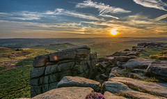 An Evening On Higger Tor (johngregory250666) Tags: outside lane peak district uk derbyshire rural nature british countryside camera lens green yellow orange stone nikon nikkor hiking walking lines clouds sky blue moss lichen out brook glow grass imagesofengland amazing sunlight water light sun outdoor grassland field landscape hill trees plant serene moors ridge great national park mountain moor moorland dale new mountainside august d5200 rock formation rays winhill edge heather blooming flower flowerbed tor carlwark higger world people photoadd