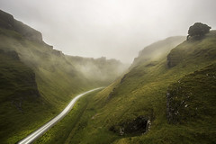 Winnats Pass (manphibian) Tags: winnat winnats pass derbyshire peak district longexposure light trails headlight car morning sunrise fog mist foggy misty night nature cliffs valley mountains countryside english sony sonya7 canon 1740 l