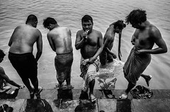 . (robbie ...) Tags: india kolkata howrah bridge men washing cleaning teeth ricoh gr street photography toothpaste black white monochrome