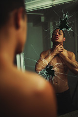 The other side 39/365 (Carlos Castañeda') Tags: explore mirror shattered myself selfportrait me photoshop edit darkart fineartphotography reflection glass broken dimension perspective theotherside thefurther theupsidedown focus skin shirtless strangled evil bad life death alive dead