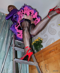 8 What no feather duster (janegeetgirl2) Tags: transvestite crossdresser crossdressing tgirl tv ts stockings heels garters nylons glamour petticoat purple red satin dress stilettos fully fashioned high vintage seams maid black suspenders jane gee