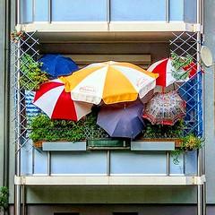 Think Tank of Umbrella Corporation (C MB 166) Tags: deutschland germany sachsen saxony leipzig balkon balcony schirme umbrellas farben colors colours instagram motorolanexus6