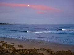 Surfing by moonlight (phunnyfotos) Tags: phunnyfotos australia victoria vic torquay pointimpossible surf surfing surfer surfers twilight dusk evening night moon moonlit moonlight surfie beach shore shoreline coast coastal coastline bassstrait nikon d750 nikond750 greatoceanroad cloud pink waves sea ocean seascape shorescape bluehour