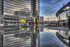 La nuova Milano si specchia (fotopierino) Tags: italy milan tower canon reflex italia torre mark milano iii spire cesar 5d piazza grattacielo lombardia 1740mm hdr gae riflesso pelli photomatix aulenti fotopierino