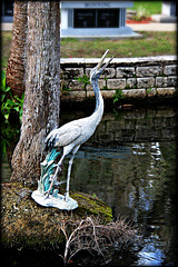 Heron Statuary (Chris C. Crowley) Tags: reflection water cemetery rock palms moss pond graves reflectingpool chriscrowley celticsong22 daytonamemorialgardens greatblueheronstatue lohmansfuneralhome heronstatuary