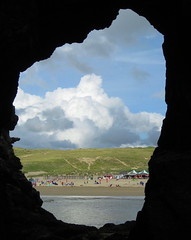Caves and Clouds (supercoops) Tags: uk blue sea sky holiday seascape beach nature water clouds sand bej the4elements