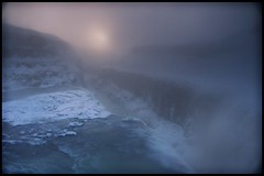 Gullfoss Icy Breath (Firery Broome) Tags: blue winter mist snow cold ice nature water landscape frozen iceland gray waterfalls gullfoss pinksun