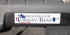 Election 2012, Romney-Ryan, Bumper Sticker, Hunters (photolibrarian) Tags: bumpersticker hunters election2012 romneyryan