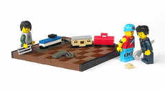 Toy Train (mijasper) Tags: toy lego steve railway locomotive boxcar minifig minifigs trainengine buffer rollerskate toolbox moc microscale tablescrap minecraft collectibleminifigures