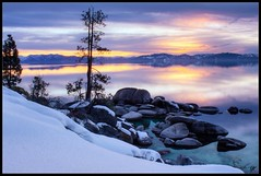 Winter Sunset (Derrick Ament Photo) Tags: california sunset cloud sun lake tree water rock set pine nevada tahoe nv