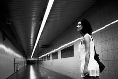 in subway corridor (gorbot.) Tags: blackandwhite bw tunnel roberta f19 leicam8 silverefex voigtlander28mmultronf19