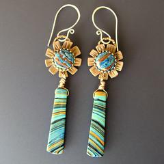 Striped Flower Earrings (Mango Tango Designs) Tags: bronze silver carved team rainbow jasper hand handmade ooak jewelry sterling earrings etsy emc metalclay calsilica bevgallerani beverlygallerani