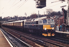 33008 11th April 1987 at Ipswich (Ian Sharman 1963) Tags: station train silver diesel 33 jubilee 1987 class april express 11th orient ipswich eastleigh crompton 33008