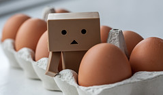 Who came first? Danbo or the egg? (Peter Bros Nissen) Tags: food cute photoshop canon egg eat elements tray 5d canon5d february mad februar lightroom danbo æg spis 2013 revoltech danboard æggebakke canonef100mm28usmmacro dpscute
