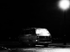 exmouth 5 (keehotee) Tags: light bw white black vw night dark lens mono long exposure paint devon t3 praktica exmouth veedub t25