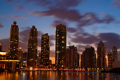 #850E3962 - City clouds in dusk (crimsonbelt) Tags: city longexposure sunset clouds reflections lights dubai dusk waters scape