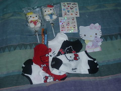 Hello Kitty swap(recieved) (Amane-chan) Tags: hello socks pen stickers kitty swap pens gel sucker bot swapbot hottoic