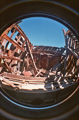 Beams Shadows (lefeber) Tags: california wood roof sky house abandoned film architecture boards lomo lomography mine shadows decay roadtrip fisheye worn ghosttown weathered shack bodie sagging beams ruraldecay