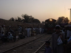 A Train Running in Downtown Peshawar, Pakistan (tyamashink) Tags: pakistan