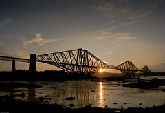 Early morning at North Queensferry. (AlbOst) Tags: reflections scotland contrejour riverforth intothesun forthbridges famouslandmarks