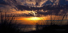 Royan Beach France (rafimmedia) Tags: light sunset sea sky france grass yellow clouds waves rays seashore rafi royan royanbeach rafimmediaphotography