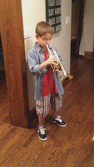 His first day with the cornet (Didre) Tags: music house movie jackson familyroom cornet