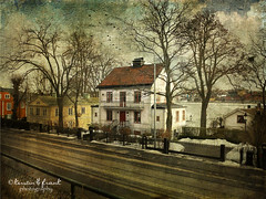 .. waiting for spring .. (Kerstin Frank art) Tags: road trees winter house snow building texture water djugrden distressedjewell kerstinfrankart kerstinfranktexture