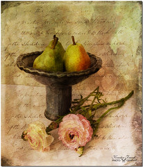 ... pears in blue bowl ... (Kerstin Frank art) Tags: stilllife texture ceramic pears ranunculus brushes jar photomix skeletalmess magicunicornverybest kerstinfrankart kerstinfranktexture creativephotocafe ceramicbyme