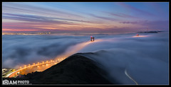 Into the Fog (Aaron M Photo) Tags: aaronmeyersphotography bridge california ggb golden goldengatebridge hill nikon nikond800 sanfrancisco sunrise architecture car city colors deck epic fog goldengate headlands historic landmark lights lowfog m