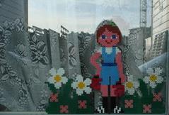 waiting for spring (Gertie Jaquet) Tags: flower reflection window girl beads spring lente printemps kralen strijkkralen ironingbeads perlesrepasser