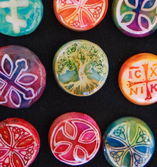 s-Clay-cachabons-1 (Flyingkumquatstudio) Tags: rainbow stamps jewelry christian polymerclay resin easternorthodox alcoholinks cachabons