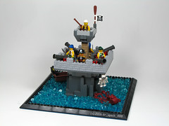 Sea Rats Play Fort (dr_spock_888) Tags: lego moc pirates cannons fort sea octopus boat guns cutlasses skeleton