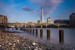 Nice day in Mordor (lloydich) Tags: mordor blackfriars bridge london thames low tide sky blue clouds