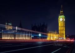 Big Ben (Bashir Towers) Tags: transport travel bluesky lights fujixt1 fujifilm housesofparliament parliament clocktower longexposure lighttrails bridge westminster riverthames thames bigben london