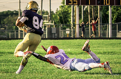 High school football: he gone (rikki480) Tags: offense play wide receiver gone pass touchdown dive tackle heel lay out highschool football game bishop dwenger wayne fortwayne indiana zollner field stadium