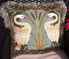 Swanning About Needlepoint Pillow (victowood) Tags: needlepoint handmade glorafilia swans