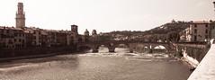 panorama sur Verone : les rives de l'Adige (lignesbois) Tags: verone verona vntie veneto italie italia italy adige ponte pietra extrieur outdoor pentax km pentaxda l