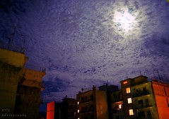 August full moon making love with the clouds over the ugly city... (gregtz) Tags: city moon clouds full buildings emotions atmosphere august summer patras