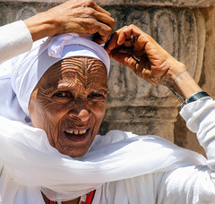 Zen (ybiberman) Tags: israel jerusalem oldcity alquds christianquarter churchoftheholysepulchre woman ethiopian pilgrim portrait veil tattoo handtattoo wrinkles