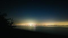 Terrapin Beach at Night (seikoesquepayne) Tags: chesapeakebaybridge night olympus beach f28 em1 water sky outdoor 714mm stars